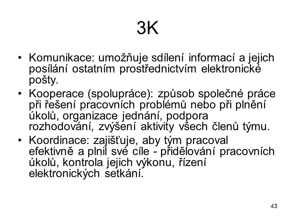 43 3K Komunikace: umožňuje sdílení informací a jejich posílání ostatním prostřednictvím elektronické pošty. Kooperace (spolupráce): způsob společné pr