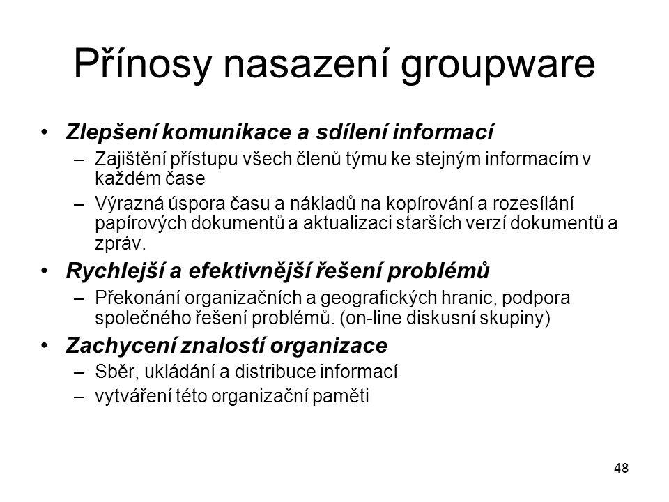 48 Přínosy nasazení groupware Zlepšení komunikace a sdílení informací –Zajištění přístupu všech členů týmu ke stejným informacím v každém čase –Výrazn