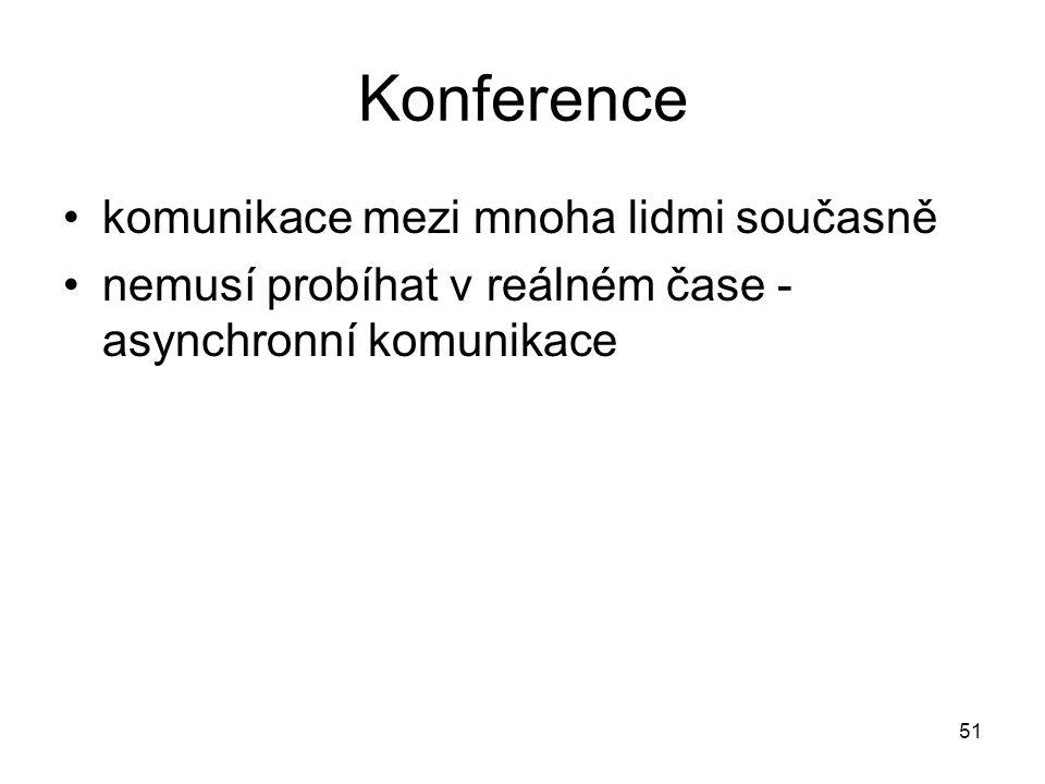 51 Konference komunikace mezi mnoha lidmi současně nemusí probíhat v reálném čase - asynchronní komunikace