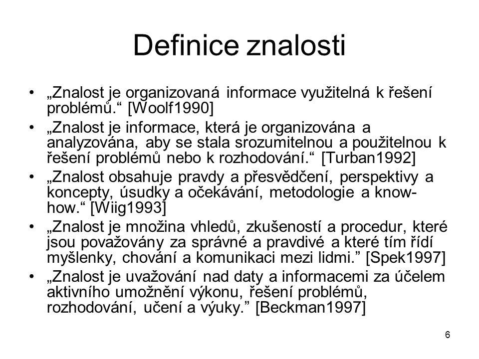 """6 Definice znalosti """"Znalost je organizovaná informace využitelná k řešení problémů."""" [Woolf1990] """"Znalost je informace, která je organizována a analy"""