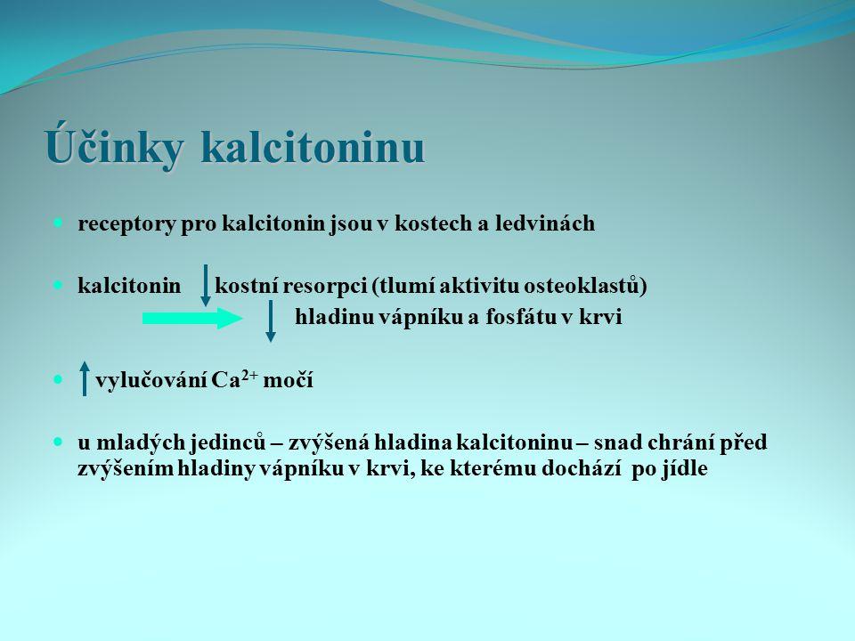 Účinky kalcitoninu receptory pro kalcitonin jsou v kostech a ledvinách kalcitonin kostní resorpci (tlumí aktivitu osteoklastů) hladinu vápníku a fosfá