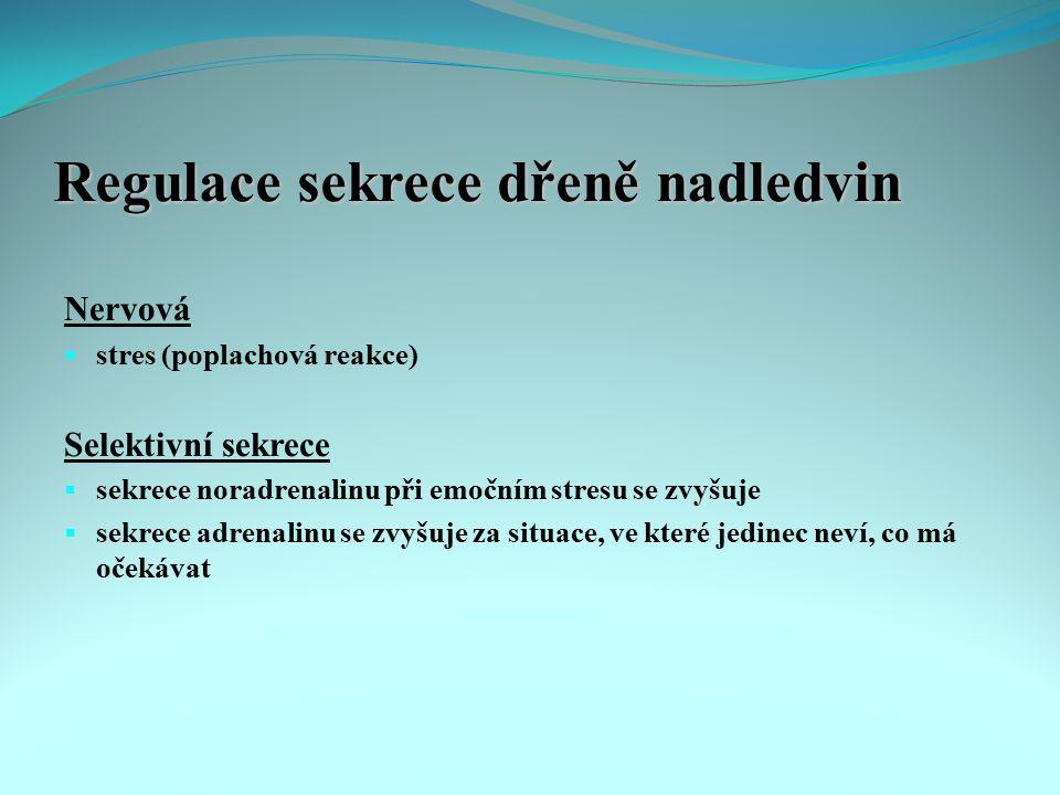 Regulace sekrece dřeně nadledvin Nervová  stres (poplachová reakce) Selektivní sekrece  sekrece noradrenalinu při emočním stresu se zvyšuje  sekrec