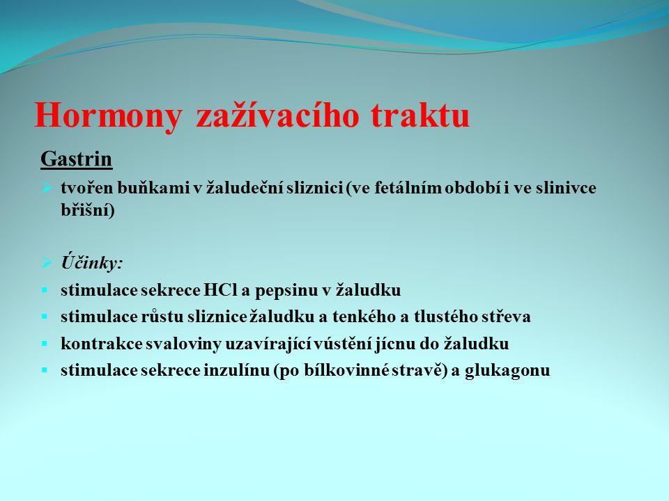 Hormony zažívacího traktu Gastrin  tvořen buňkami v žaludeční sliznici (ve fetálním období i ve slinivce břišní)  Účinky:  stimulace sekrece HCl a