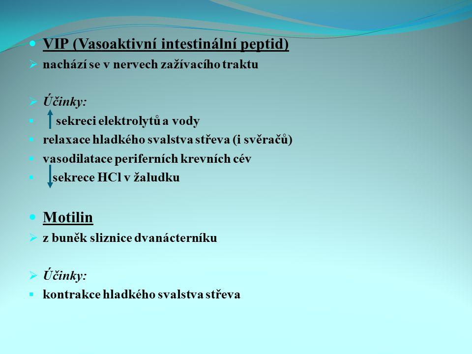 VIP (Vasoaktivní intestinální peptid)  nachází se v nervech zažívacího traktu  Účinky:  sekreci elektrolytů a vody  relaxace hladkého svalstva stř