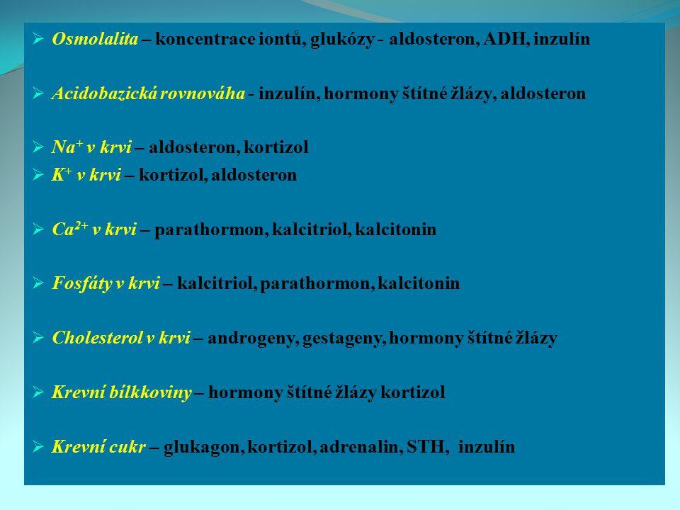  Osmolalita – koncentrace iontů, glukózy - aldosteron, ADH, inzulín  Acidobazická rovnováha - inzulín, hormony štítné žlázy, aldosteron  Na + v krv