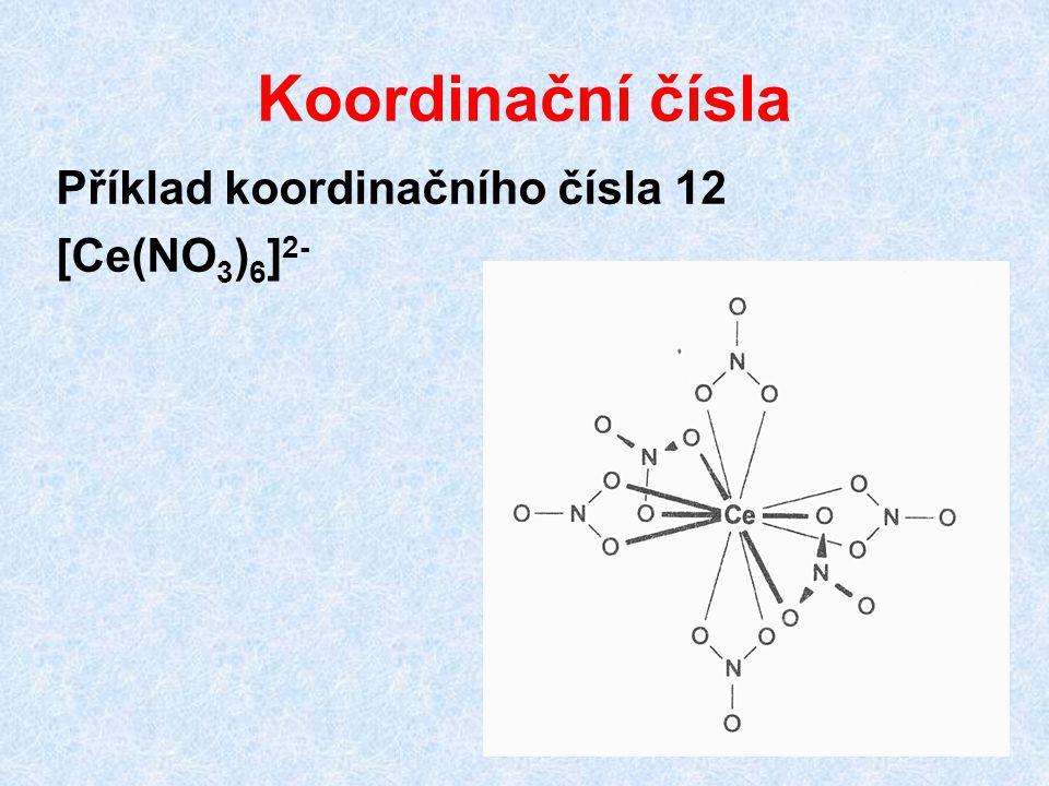 Koordinační čísla Příklad koordinačního čísla 12 [Ce(NO 3 ) 6 ] 2-