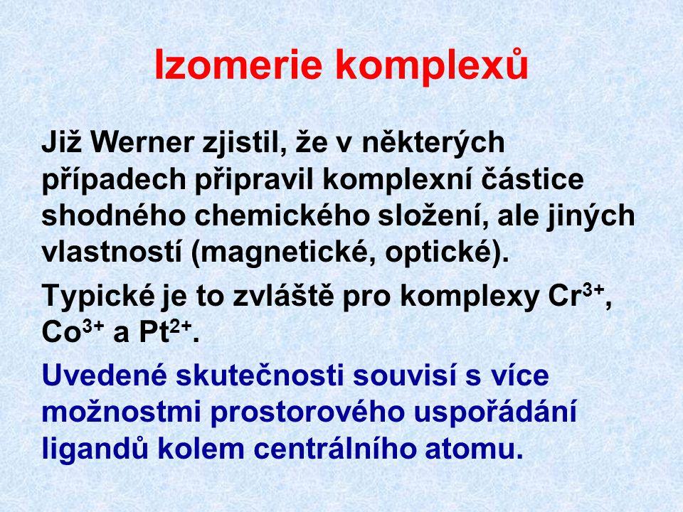 Izomerie komplexů Již Werner zjistil, že v některých případech připravil komplexní částice shodného chemického složení, ale jiných vlastností (magneti