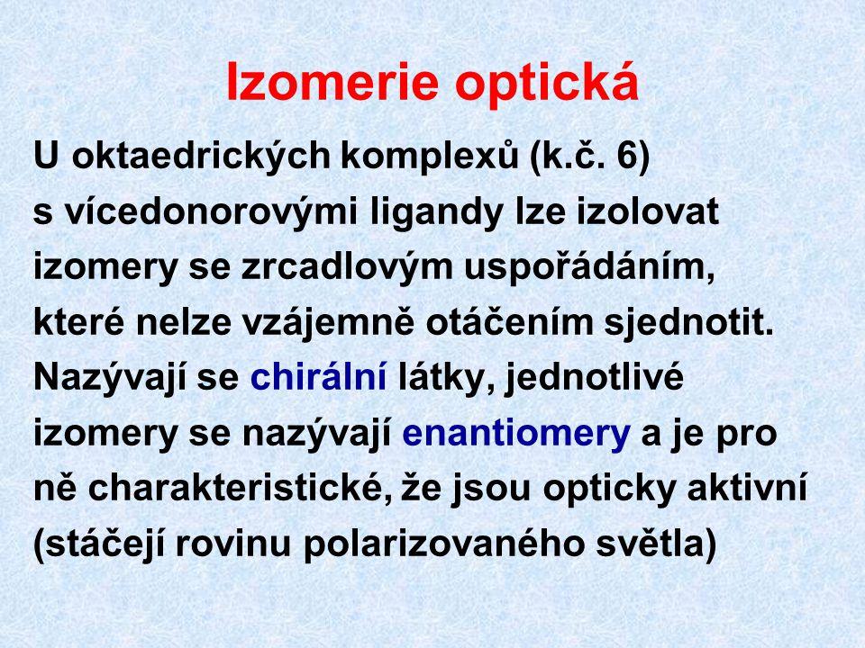 Izomerie optická U oktaedrických komplexů (k.č. 6) s vícedonorovými ligandy lze izolovat izomery se zrcadlovým uspořádáním, které nelze vzájemně otáče