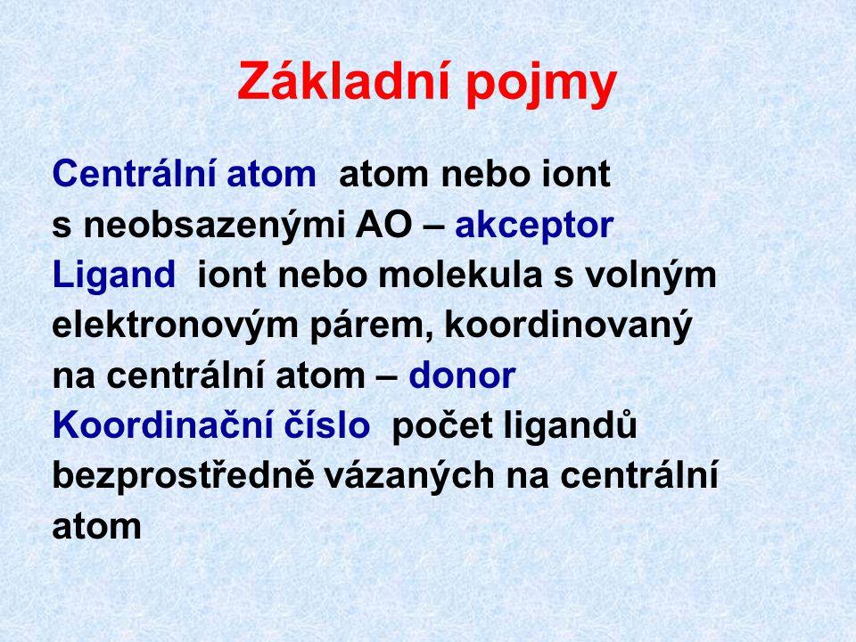 Základní pojmy Centrální atom atom nebo iont s neobsazenými AO – akceptor Ligand iont nebo molekula s volným elektronovým párem, koordinovaný na centr