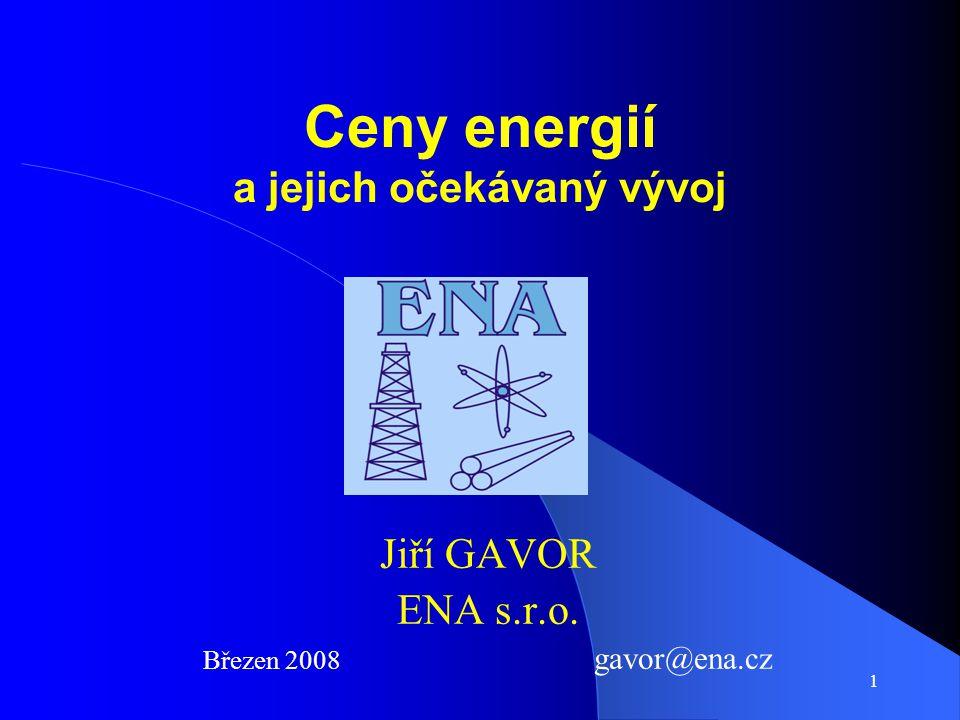 1 Ceny energií a jejich očekávaný vývoj Jiří GAVOR ENA s.r.o. Březen 2008 gavor@ena.cz
