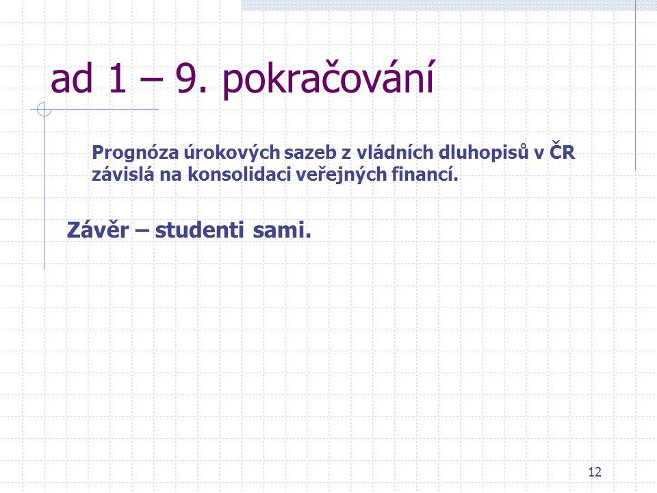 12 ad 1 – 9. pokračování Prognóza úrokových sazeb z vládních dluhopisů v ČR závislá na konsolidaci veřejných financí. Závěr – studenti sami.