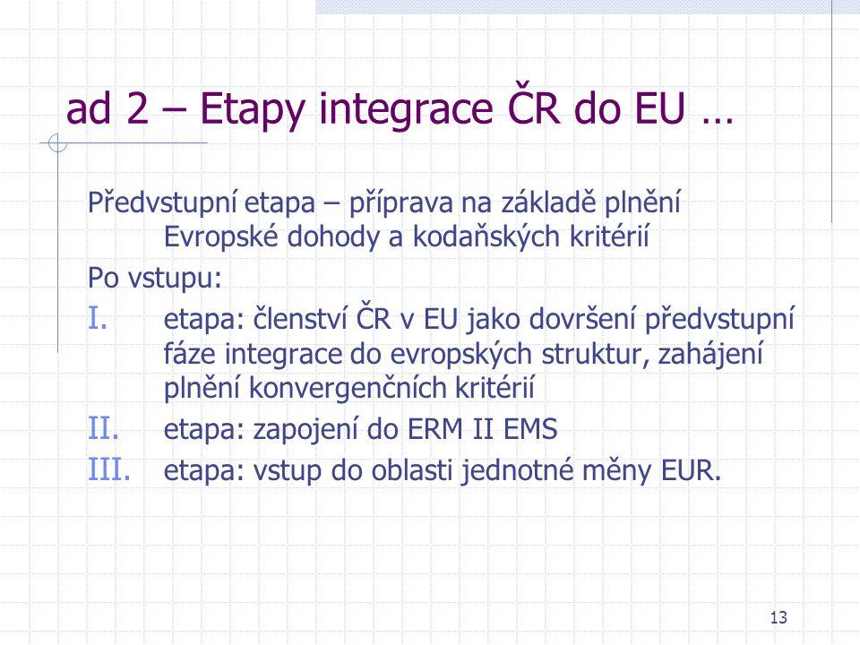 13 ad 2 – Etapy integrace ČR do EU … Předvstupní etapa – příprava na základě plnění Evropské dohody a kodaňských kritérií Po vstupu: I. etapa: členstv