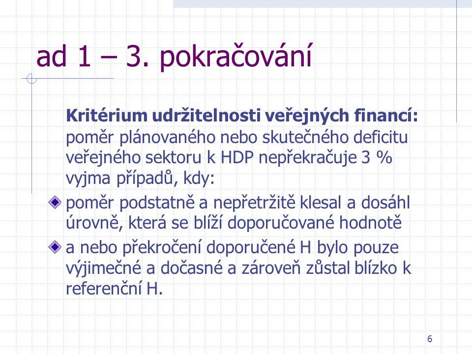6 ad 1 – 3. pokračování Kritérium udržitelnosti veřejných financí: poměr plánovaného nebo skutečného deficitu veřejného sektoru k HDP nepřekračuje 3 %