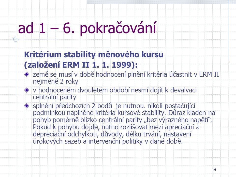 9 ad 1 – 6. pokračování Kritérium stability měnového kursu (založení ERM II 1. 1. 1999): země se musí v době hodnocení plnění kritéria účastnit v ERM