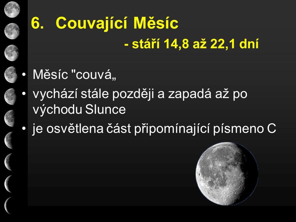 """6.Couvající Měsíc - stáří 14,8 až 22,1 dní Měsíc couvá"""" vychází stále později a zapadá až po východu Slunce je osvětlena část připomínající písmeno C"""