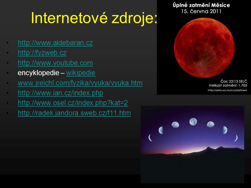 Internetové zdroje: http://www.aldebaran.cz http://fyzweb.cz http://www.youtube.com encyklopedie – wikipediewikipedie www.jreichl.com/fyzika/vyuka/vyuka.htm http://www.ian.cz/index.php http://www.osel.cz/index.php?kat=2 http://radek.jandora.sweb.cz/f11.htm