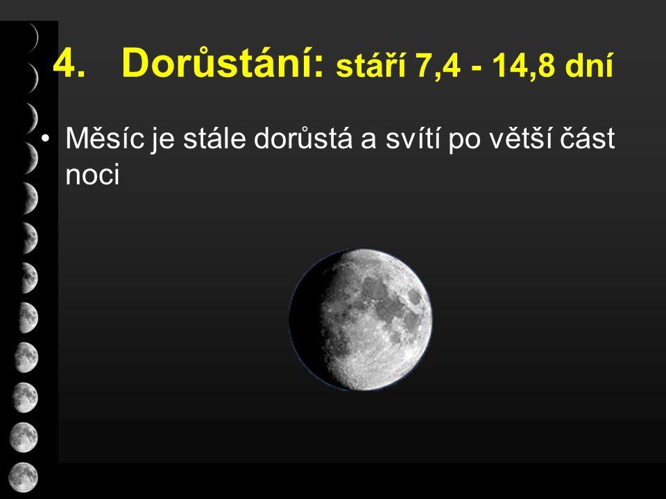 4. Dorůstání: stáří 7,4 - 14,8 dní Měsíc je stále dorůstá a svítí po větší část noci