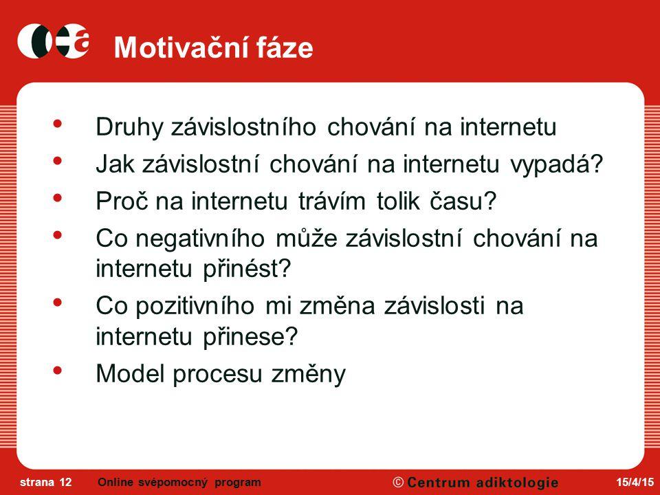 15/4/15strana 12 Motivační fáze Druhy závislostního chování na internetu Jak závislostní chování na internetu vypadá.