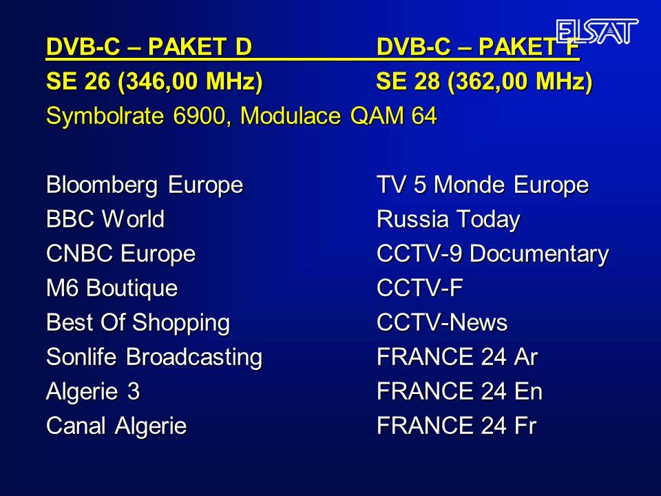 DVB-C – PAKET D DVB-C – PAKET F SE 26 (346,00 MHz) SE 28 (362,00 MHz) Symbolrate 6900, Modulace QAM 64 Bloomberg Europe TV 5 Monde Europe BBC World Ru