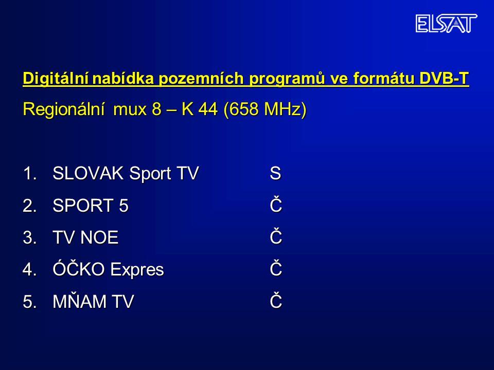 Digitální nabídka pozemních programů ve formátu DVB-T Regionální mux 8 – K 44 (658 MHz) 1. SLOVAK Sport TVS 2. SPORT 5Č 3. TV NOEČ 4. ÓČKO ExpresČ 5.