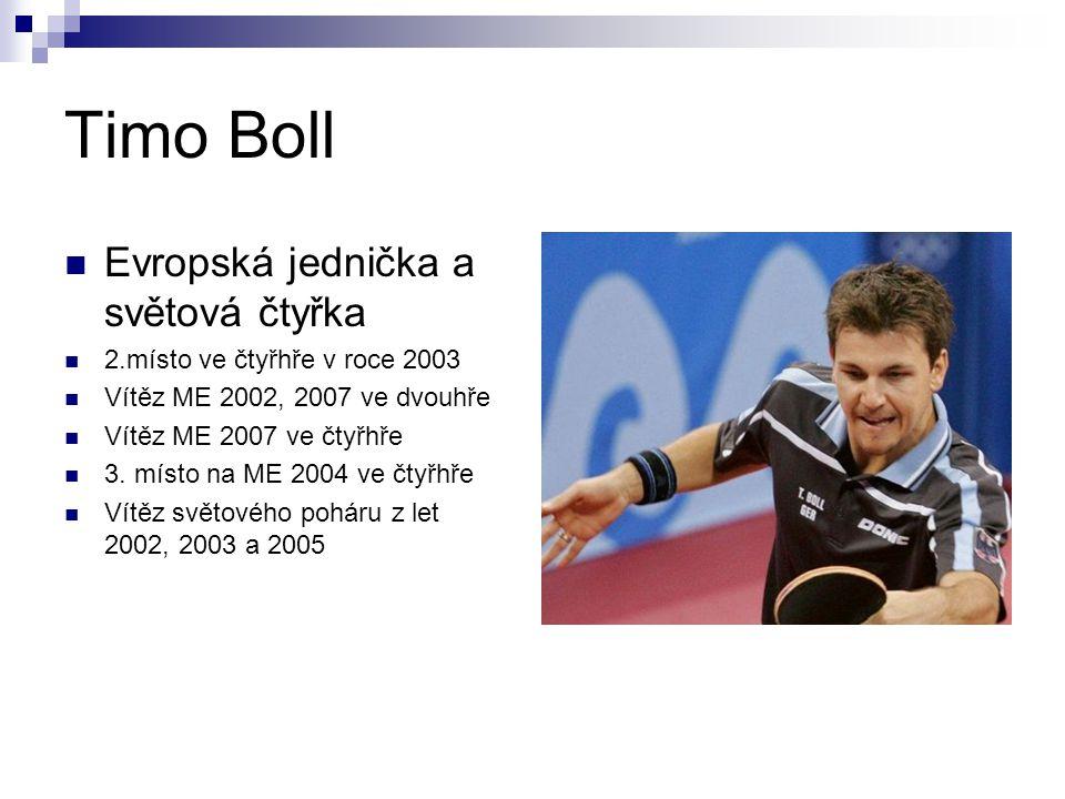 Timo Boll Evropská jednička a světová čtyřka 2.místo ve čtyřhře v roce 2003 Vítěz ME 2002, 2007 ve dvouhře Vítěz ME 2007 ve čtyřhře 3. místo na ME 200