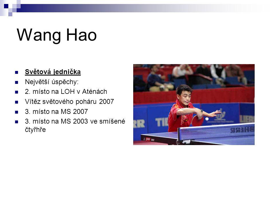 Wang Hao Světová jednička Největší úspěchy: 2. místo na LOH v Aténách Vítěz světového poháru 2007 3. místo na MS 2007 3. místo na MS 2003 ve smíšené č