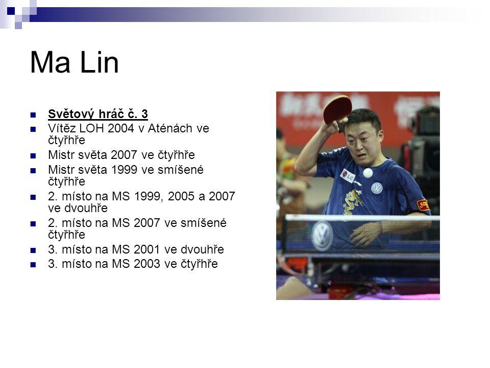Ma Lin Světový hráč č. 3 Vítěz LOH 2004 v Aténách ve čtyřhře Mistr světa 2007 ve čtyřhře Mistr světa 1999 ve smíšené čtyřhře 2. místo na MS 1999, 2005