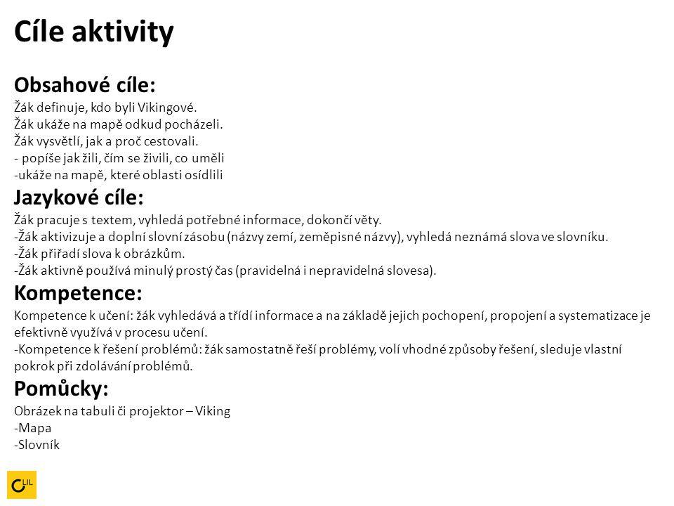 Cíle aktivity Obsahové cíle: Žák definuje, kdo byli Vikingové.