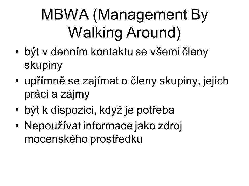 MBWA (Management By Walking Around) být v denním kontaktu se všemi členy skupiny upřímně se zajímat o členy skupiny, jejich práci a zájmy být k dispoz