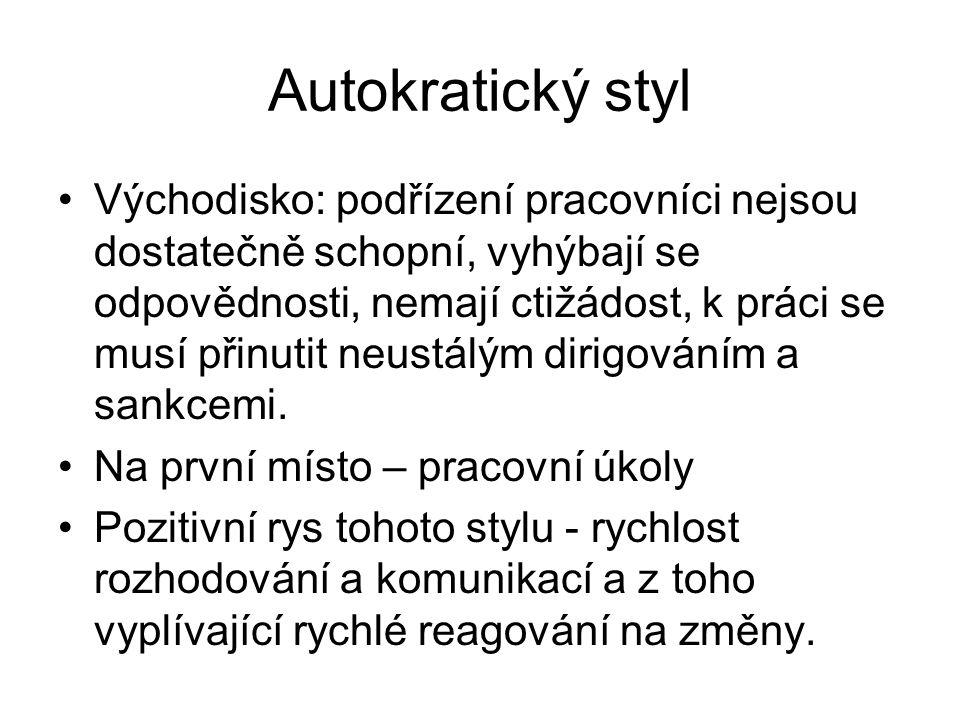 Autokratický styl Východisko: podřízení pracovníci nejsou dostatečně schopní, vyhýbají se odpovědnosti, nemají ctižádost, k práci se musí přinutit neu