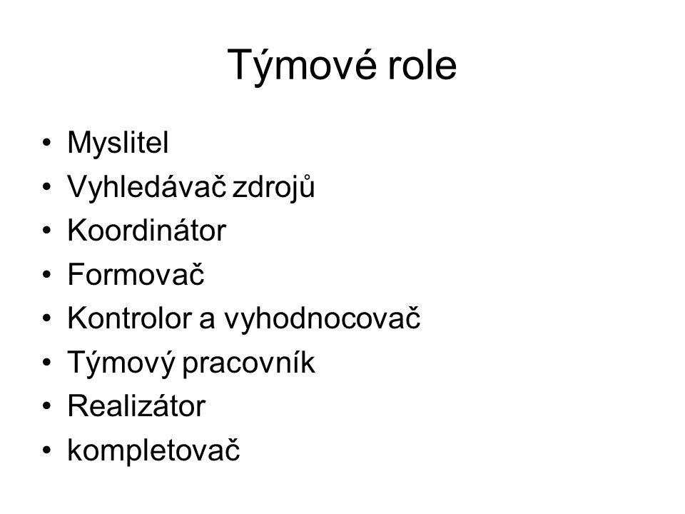 Týmové role Myslitel Vyhledávač zdrojů Koordinátor Formovač Kontrolor a vyhodnocovač Týmový pracovník Realizátor kompletovač