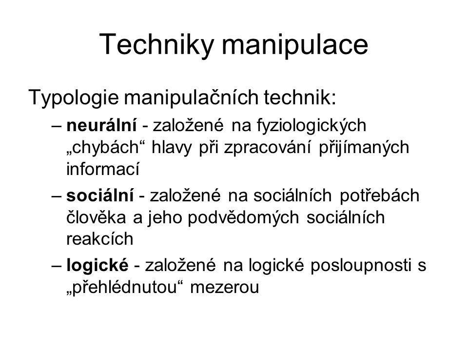 """Techniky manipulace Typologie manipulačních technik: –neurální - založené na fyziologických """"chybách"""" hlavy při zpracování přijímaných informací –soci"""
