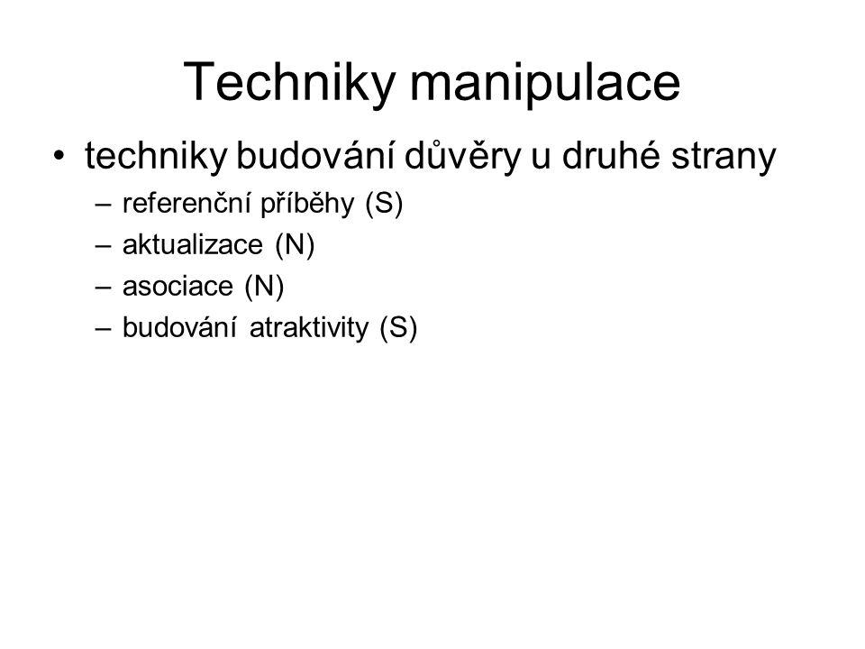 Techniky manipulace techniky budování důvěry u druhé strany –referenční příběhy (S) –aktualizace (N) –asociace (N) –budování atraktivity (S)