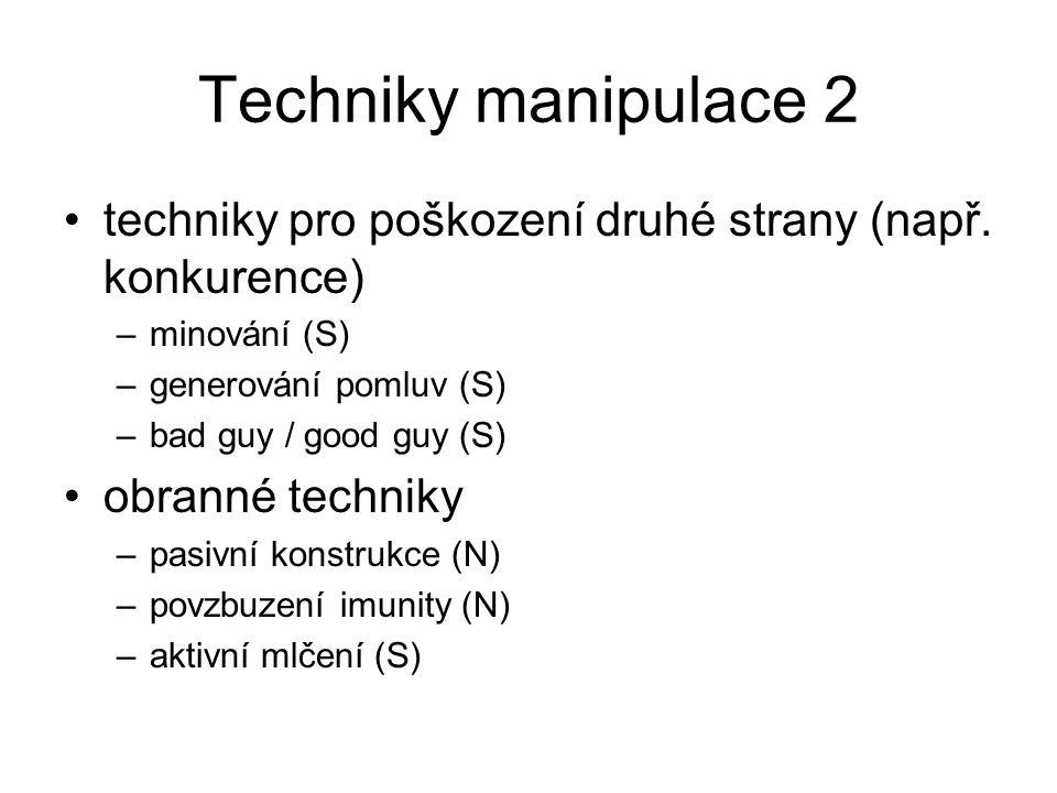 Techniky manipulace 2 techniky pro poškození druhé strany (např. konkurence) –minování (S) –generování pomluv (S) –bad guy / good guy (S) obranné tech