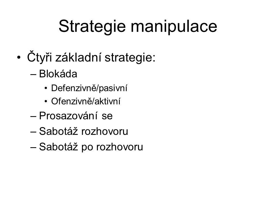 Strategie manipulace Čtyři základní strategie: –Blokáda Defenzivně/pasivní Ofenzivně/aktivní –Prosazování se –Sabotáž rozhovoru –Sabotáž po rozhovoru