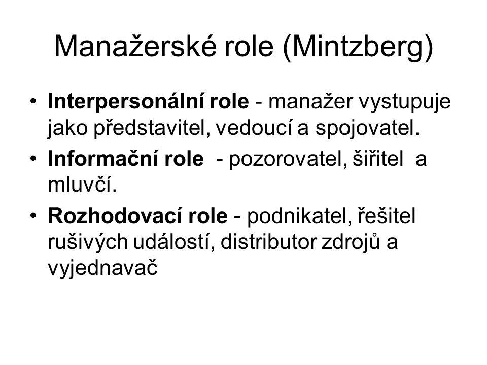 Manažerské role (Mintzberg) Interpersonální role - manažer vystupuje jako představitel, vedoucí a spojovatel. Informační role - pozorovatel, šiřitel a
