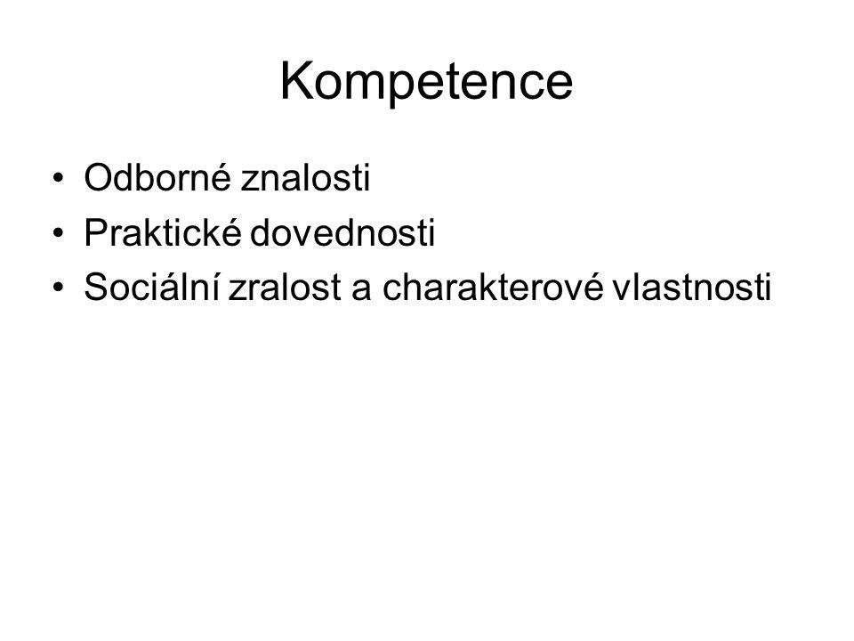 Kompetence Odborné znalosti Praktické dovednosti Sociální zralost a charakterové vlastnosti