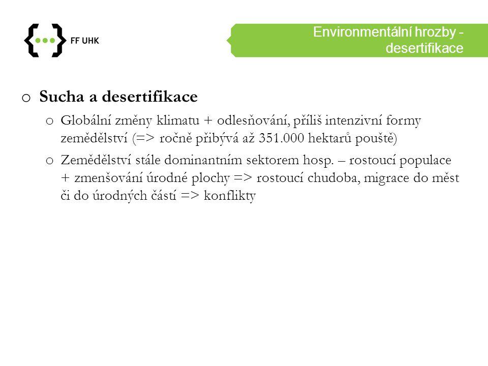Environmentální hrozby - těžba o Devastace životního prostředí těžbou/zemědělstvím o Mauritánie (železná ruda), Libérie (kaučuk), Guinea-Bissau (kešu) o Nigérie (ropa) o Nález ropy v 2.