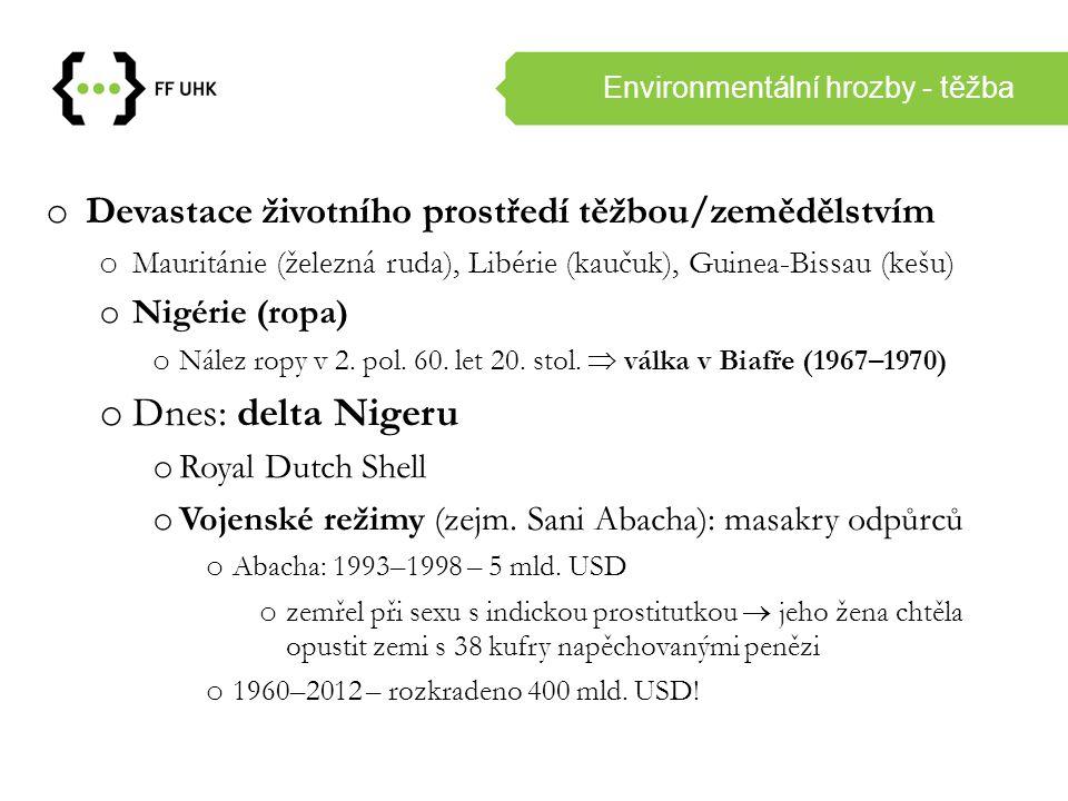 Environmentální hrozby - těžba o Devastace životního prostředí těžbou/zemědělstvím o Mauritánie (železná ruda), Libérie (kaučuk), Guinea-Bissau (kešu)