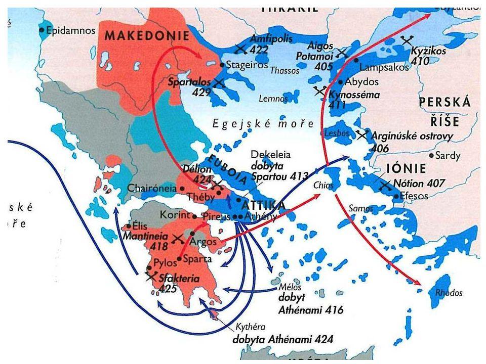 Řecko po peloponéské válce 371 př.n.l. – bitva u Leukter 371 – 362 př.n.l. - Thébská hegemonie Následuje konec hegemonů 357 – 355 př.n.l. – spojenecká