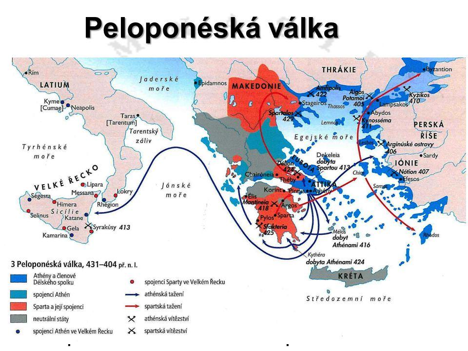 Peloponéská válka Athénský demokrat a stratég 415 – 413 výprava na Sicílii (Segesta, Syrakusy) 32 000 mužů V čele Alkibiadés, Nikiás a Lamáchos Alkibi