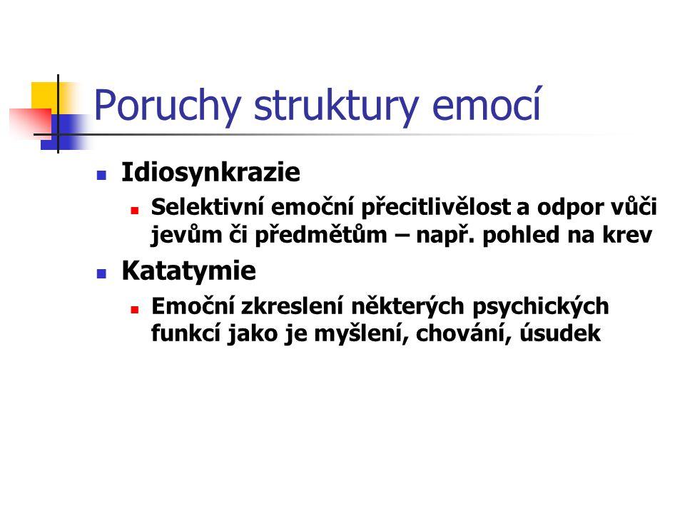 Poruchy struktury emocí Idiosynkrazie Selektivní emoční přecitlivělost a odpor vůči jevům či předmětům – např. pohled na krev Katatymie Emoční zkresle