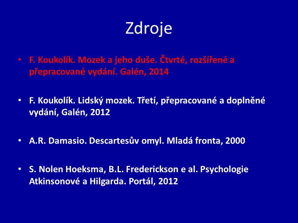 Zdroje F. Koukolík. Mozek a jeho duše. Čtvrté, rozšířené a přepracované vydání. Galén, 2014 F. Koukolík. Lidský mozek. Třetí, přepracované a doplněné