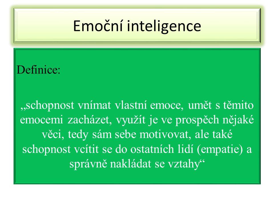 """Emoční inteligence Definice: """"schopnost vnímat vlastní emoce, umět s těmito emocemi zacházet, využít je ve prospěch nějaké věci, tedy sám sebe motivov"""