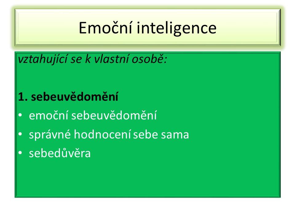 Emoční inteligence vztahující se k vlastní osobě: 1. sebeuvědomění emoční sebeuvědomění správné hodnocení sebe sama sebedůvěra