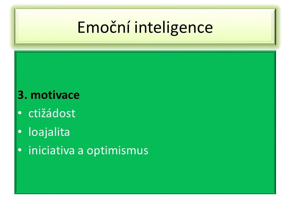 Emoční inteligence 3. motivace ctižádost loajalita iniciativa a optimismus