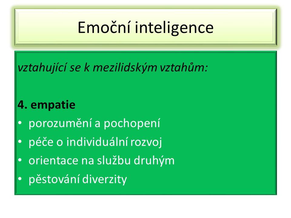 Emoční inteligence vztahující se k mezilidským vztahům: 4. empatie porozumění a pochopení péče o individuální rozvoj orientace na službu druhým pěstov