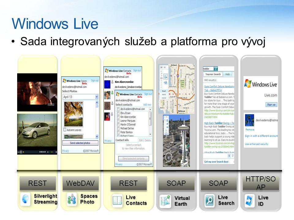 Windows Live Sada integrovaných služeb a platforma pro vývoj WebDAV SOAP REST HTTP/SO AP LiveSearch Live ID REST LiveContacts VirtualEarth Silverlight Streaming SpacesPhoto