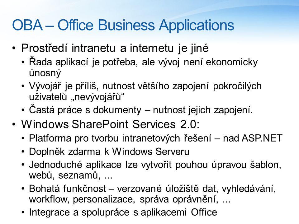 """OBA – Office Business Applications Prostředí intranetu a internetu je jiné Řada aplikací je potřeba, ale vývoj není ekonomicky únosný Vývojář je příliš, nutnost většího zapojení pokročilých uživatelů """"nevývojářů Častá práce s dokumenty – nutnost jejich zapojení."""
