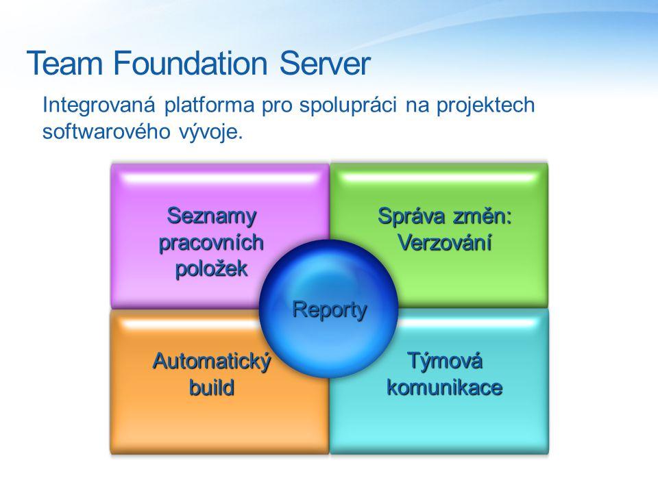 Team Foundation Server Integrovaná platforma pro spolupráci na projektech softwarového vývoje.